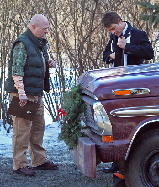 Actors Josh Duhamel and Larry Miller filming a scene on the set of 'New Year's Eve' in Palisades, NY. Also on set is director Garry Marshall