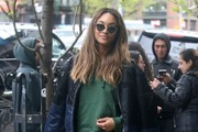 Jourdan Dunn Wears A Green Sweater & Pants In NYC