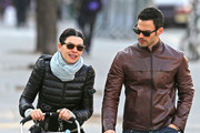 Actress Julianna Margulies and husband Keith Lieberthal out for a walk with their son Kieran Lieberthal in the Soho district of New York City, NY.