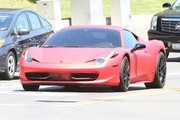 On-again off-again couple Selena Gomez and Justin Bieber seen driving to Selena's home in Calabasas, California on August 17, 2014. The pair, who are seen here being followed by their security car, spent the night together and Justin is giving Selena a ride back to her home.