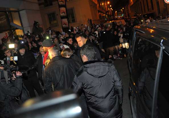 Justin Bieber Hundreds of fans wait in the cold to catch a glimpse of Justin Bieber as he arrives at NRJ studio in Paris.