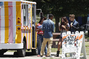 Semi-Exclusive: Justin Bieber and girlfriend Selena Gomez stopping by Bronco Burrito for lunch with a friend before heading to Lake Balboa to enjoy a walk around the lake while eating ice cream in Van Nuys, California on June 30, 2012.