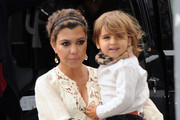 TV personality Kourtney Kardashian arrived at the Gansevoort hotel in New York City, New York on April 23, 2012 with her son Mason. After a while in the hotel Kourtney left the hotel with her sister Khloe Kardashian followed by her mom Kris Jenner, sister Kim and brother Rob Kardashian.<br />