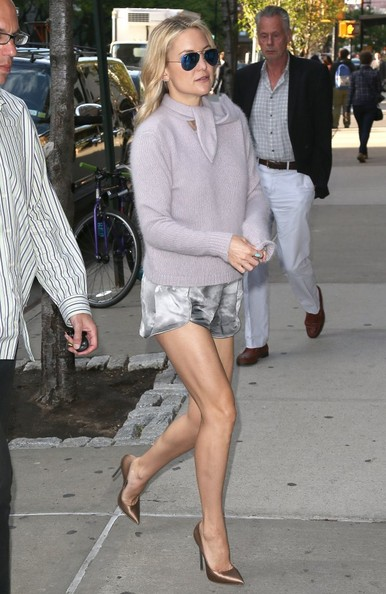 Kate Hudson shows off her lean legs while out and about in New York City, New York on May 19, 2014. Kate has recently been working so hard at the yoga studio and is so dedicated to fitness that she released her own line of active wear!