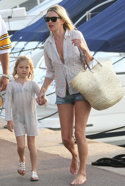 Model Kate Moss, her daughter Lila Grace Moss seen out at Club 55 with Lily Allen and Jean-Yves Le Fur in St. Tropez, France.