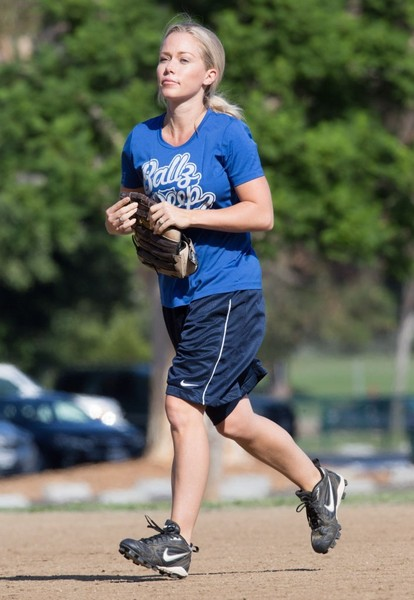Kendra Wilkson Plays a Softball Game in Los Angeles