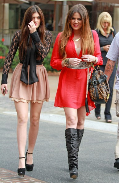 "Khloe Kardashian Reality stars Khloe Kardashian and Kylie Jenner arrive at the Grove for an interview on ""Extra"" in Los Angeles."