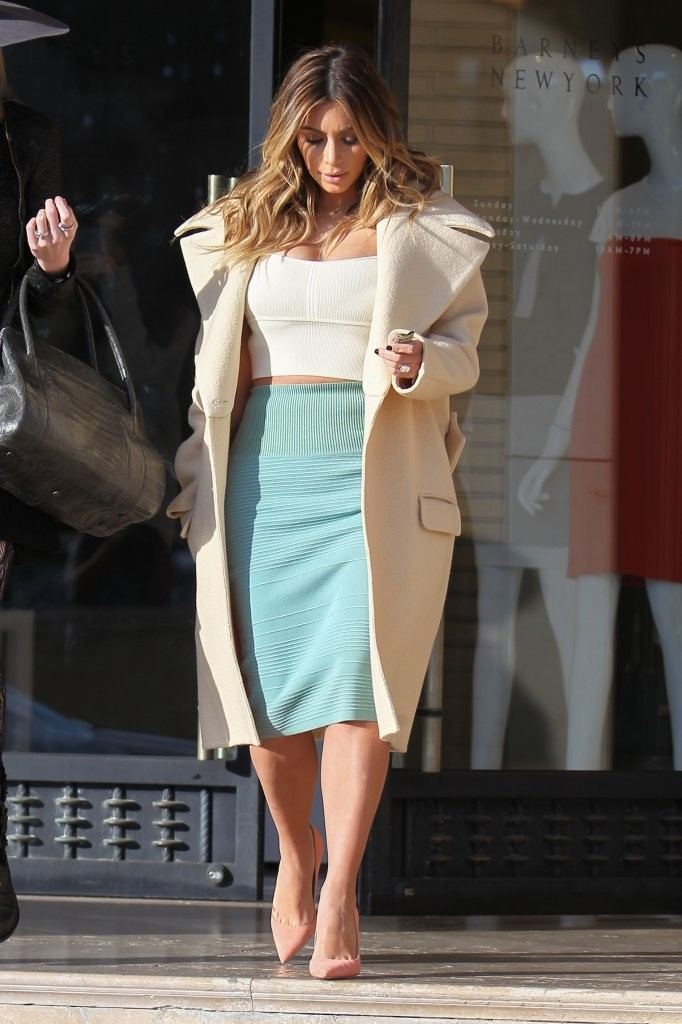 Reality star and new mom Kim Kardashian does some shopping at Barneys New York in Beverly Hills, California on January 6, 2014.