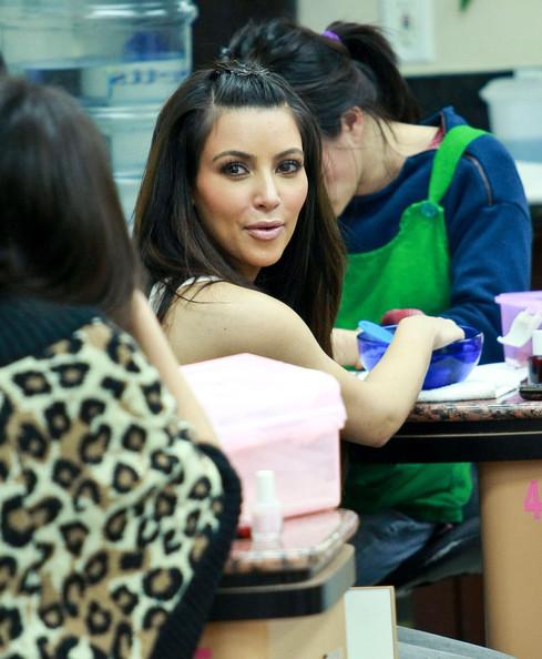 Kim Kardashian Kim Kardashian and Brittny Gastineau getting their nails done at a nail salon in Beverly Hills, CA.