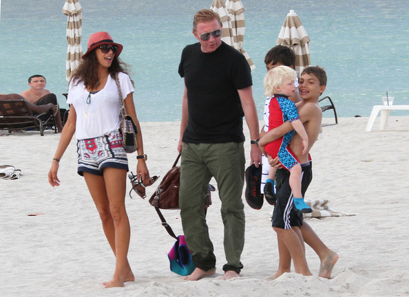 Boris Becker Hits The Beach With His Family