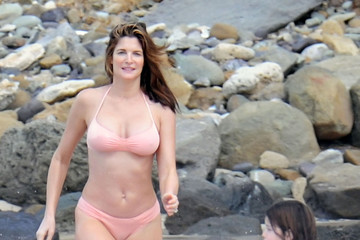 Lily Brant Stephanie Seymour And Kids On The Beach In St. Barts