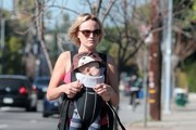 'Trophy Wife' star Malin Akerman takes her son Sebastian out for a morning stroll on February 21, 2014 in Hollywood, California.