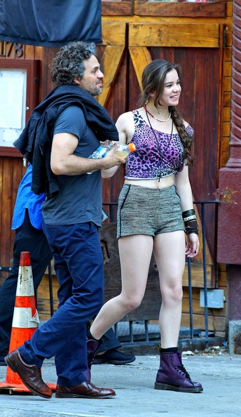 "Actor Mark Ruffalo and co-star Hailee Steinfeld were filming scenes on set of their new movie ""Can a Song Save a Life"" in New York, New York on July 6th, 2012."