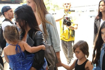 Mason Disick Kourtney Kardashian & Her Kids Arrive At LAX