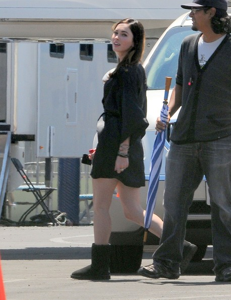"Actress Megan Fox is seen on the set of ""This is Forty"" in Los Angeles."
