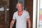 Mickey Rourke Out For Lunch At Cafe Roma