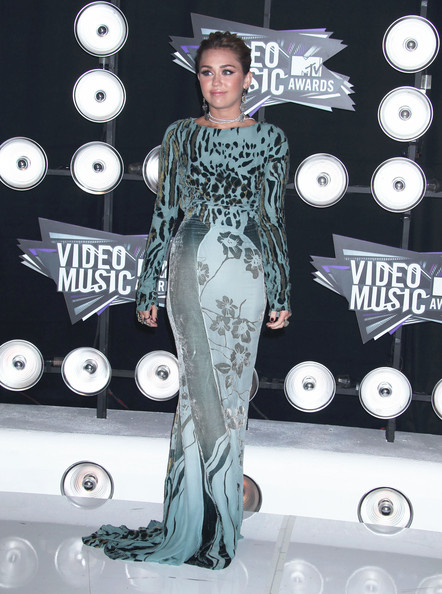 Miley Cyrus Celebrities arrive at the 28th Annual MTV Video Music Awards at the Nokia Theatre L.A. Live in Los Angeles.