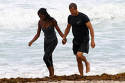 Exclusive: Model Naomi Campbell enjoyed a work out with her trainer and boyfriend Vladislav Doronin while on vacation in Miami, Florida on April 14, 2012. The happy couple also enjoyed a dip in the ocean after there workout where they shared a kiss.