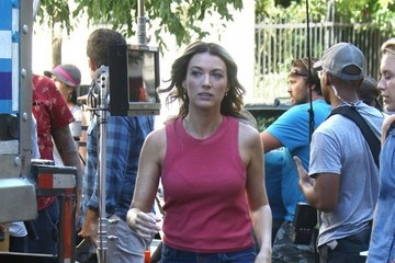 Natalie Zea Actors Jason Jones and Natalie Zea Film for 'The Detour' in New York