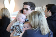 Actor Neil Patrick Harris arriving for a flight on at LAX airport in Los Angeles, CA. Shortly after Neil arrived his partner David Burtka and their twins Gideon and Harper arrived to catch a flight with their nanny.