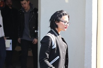 Nick Jonas Demi Lovato Demi Lovato and Nick Jonas Leave an Office in West Hollywood