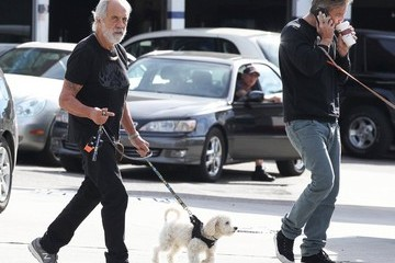 Paris Chong Tommy Chong Walks His Dog in Brentwood