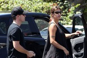 A Pregnant Elisabetta Canalis and Brian Perri Run Errands in West Hollywood