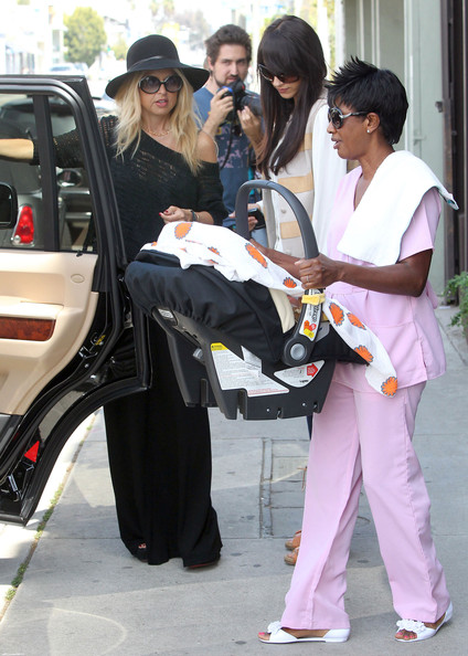 Designer Rachel Zoe and her new son Skyler Morrison Berman out shopping at Alexander McQueen in West Hollywood, CA.
