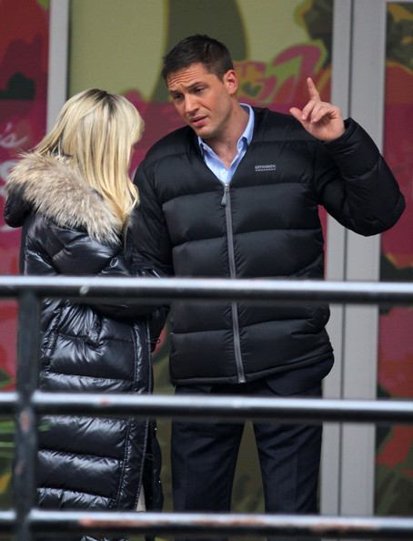 "Actress Reese Witherspoon and Tom Hardy are seen on the set of ""This Means War"" in Vancouver."