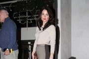 """""""The Mentalist"""" star Robin Tunney leaves Madeo restaurant after enjoying dinner on February 13, 2013 in West Hollywood, California."""