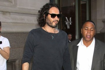 Russell Brand Russell Brand Stops by Wall Street