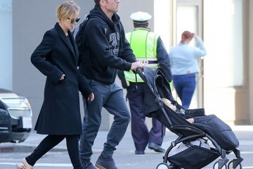Sam Worthington Sam Worthington and Lara Bingle Take Their Son Out for a Stroll
