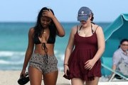 President Barack Obama's youngest daughter Sasha Obama was spotted in Miami, Florida on vacation with some of her girl friends. **NO LATIN AMERICA/NO SPAIN/NO PORTUGAL**