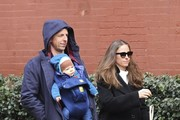 Seth Meyers goes for a walk with his family in Manhattan, NY on March 11, 2017.
