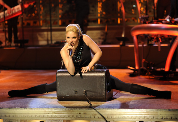 "Singer Shakira performs ""She Wolf"" live on stage during ""Saturday Night Live!"" on NBC in New York City."