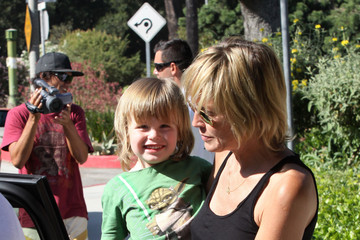Sharon Stone Quinn Stone Sharon Stone And Sons At A Park in Beverly Hills