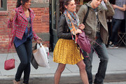 Actors Ashley Greene, Tiffany Hines and Chris Riggi on the set of 'Americana' in New York City, NY on March 23, 2012.