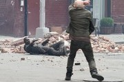 Stars are spotted filming a large action scene for the upcoming Stephen King movie 'The Dark Tower' in Dumbo, Brooklyn, NY on July 10, 2016.