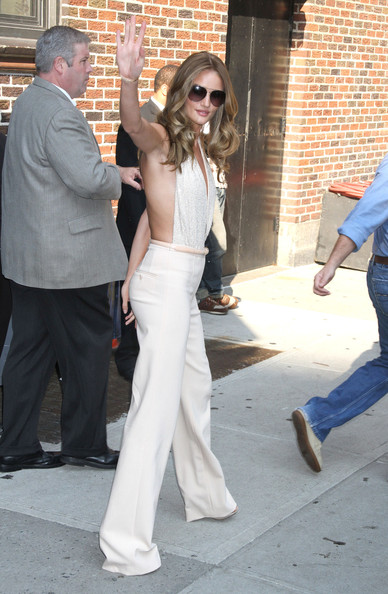 Rosie Huntington-Whiteley and Jim Carrey at the Ed Sullivan Theater for the taping of The Late Show WIth David Letterman in New York City, NY.