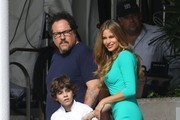 Stars the on set of 'Chef' filming in Miami, Florida on August 12, 2013.<br /> Pictured: Sofia Vergara, Jon Favreau, Emjay Anthony