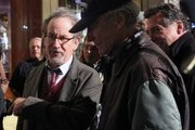 Stars are spotted on the set of 'Sully,' filming in New York City, on October 06, 2015. Clint Eastwood directs the film, based on the story of pilot Chesley Sullenberger. The date of release has not been stated.<br /> Pictured: Clint Eastwood, Steven Spielberg