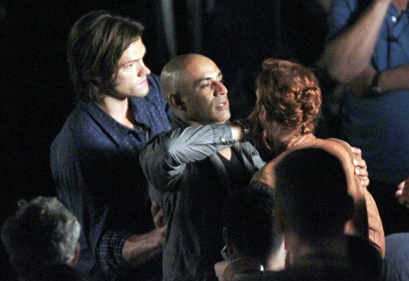 Actors Jared Padalecki and Jensen Ackles on the set of 'Supernatural' in Vancouver, Canada. In the scene an unknown actress is attacked by a Demon but Jared comes to the rescue and saves the lady.