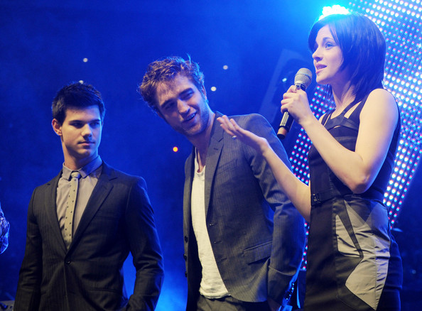 "The stars of the Twilight films, Robert Pattinson, Kristen Stewart and Taylor Lautner, attend the ""HVB Youth Meeting"" held at the Olympiahalle in Munich."