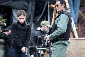 Steven Seagal Steven Seagal Hits The Set With Sarah
