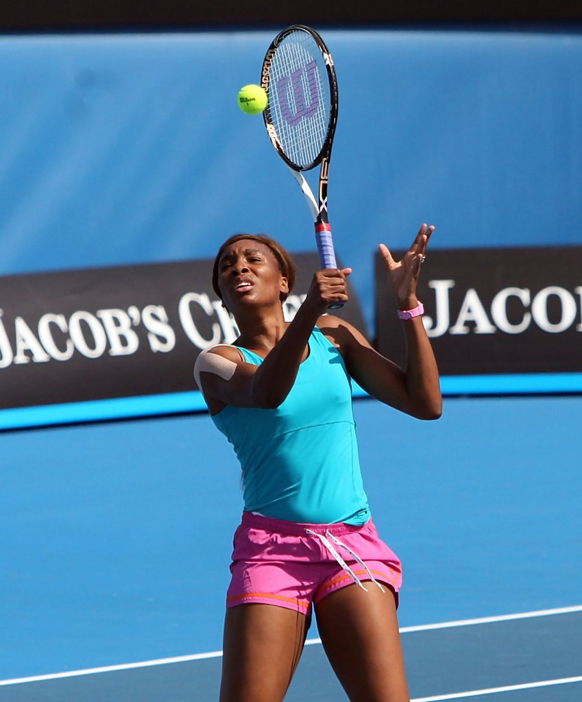 Venus Williams in Tennis Stars Practicing For The 2011 ...