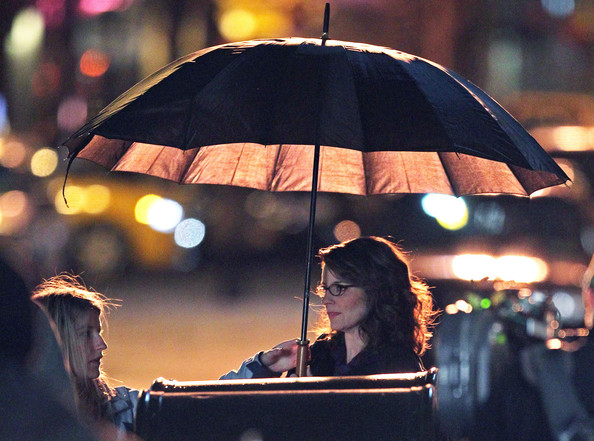 Actress Tina Fey shooting a night scene for the TV show '30 Rock' in Soho, New York City, NY.