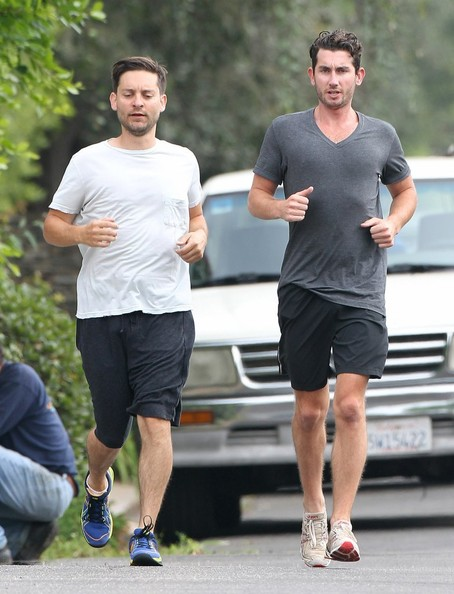 Photo of Tobey Maguire & his friend  Goes Jogging -