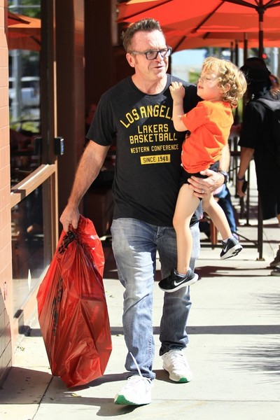 Tom Arnold and His Son Go Toy Shopping in Beverly Hills