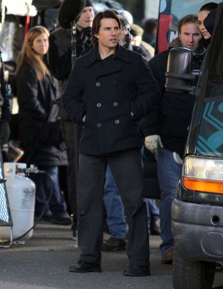 Actor Tom Cruise, Paula Patton and Simon Pegg on the set of 'Mission Impossible 4: Ghost Protocol' in Vancouver, Canada. In the scene Tom hops out of the van to use the pay phone before getting back in. Simon looked a little tired in between scene. Tom also hugged a couple of lady fans.