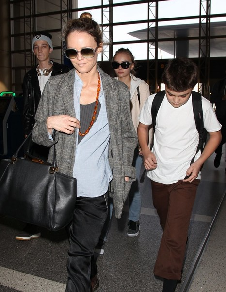 Vanessa Paradis Catches a Flight at LAX with Her Family
